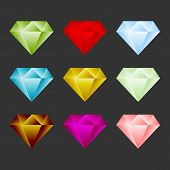 stock photo of gem  - Gem Icon Set - JPG