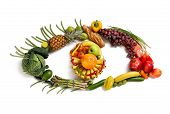 image of tropical food  - healthy food symbol represented by foods in the shape of eye to show the health concept of eating well with fruits and vegetables - JPG