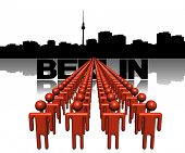 Lines of people with Berlin skyline illustration