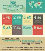 foto of motor-bus  - Flat Transportation Infographic Elements plus Icon Set - JPG