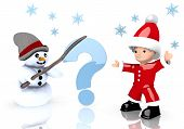 Question Symbol Presented By Snowman And Santa Claus
