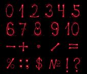 picture of subtraction  - Fireworks numbers and symbols on black background - JPG