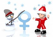 Woman Symbol Presented By Snowman And Santa Claus