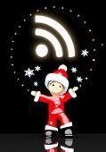 Santa Claus Under A Glaring Wifi Sign
