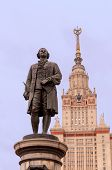 symbol of the Russian graduation and education - Mikhail Lomonosov statue and Moscow State Universit
