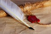 Old Paper, Ancient Parchment  Scroll With Wax Seal And Quill Pen