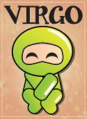 Zodiac sign Virgo with cute black ninja character, vector