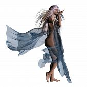image of bustiers  - Digitally rendered illustration of a fantasy woman in flowing dress on white background - JPG