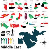 stock photo of oman  - Vector of political map of Middle East set with maps and flags on white background - JPG