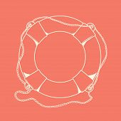 Detailed White Outlines Nautical Life Buoy Isolated On Red Background. Ship Element. Vector Illustra
