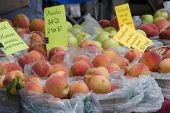 Baskets Of Peaches With Pricing At Farmers Market