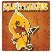 Zodiac sign Sagittarius with cute colorful monster, vector