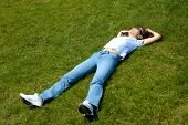 Girl Lie In Grass Summer Nature Relaxed poster