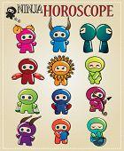 Zodiac signs with cute ninja characters, vector