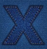 Jeans alphabet letter X