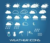 Set of weather icons for web and mobile, vector