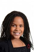 picture of cornrow  - isolated portrait little black girl smiling on white - JPG