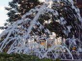Water Fountain At Columbus Circle