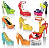 Colorful Fashion Female's Shoes And Sandals With  High Heels And Platform.Vector.
