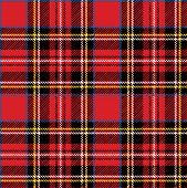 Red tartan traditional fabric seamless vector pattern.