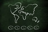 World Map And Time Zone Clocks, Business Going Global