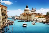 stock photo of old boat  - Grand Canal and Basilica Santa Maria della Salute - JPG