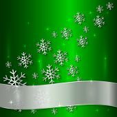 Vector Green Plate with Snowflakes  and White Ribbon