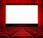 stock photo of cinema auditorium  - cinema screen with open curtain and red seats - JPG