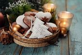 Christmas decoration, gingerbread, candles