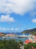 Aerial view at Gustavia Harbor with mega yachts at St Barts, French West Indies