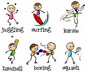 Illustration of the six different sports on a white background