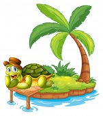 Illustration of a turtle stranded in an island on a white background
