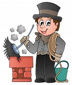 stock photo of chimney  - Happy chimney sweeper  - JPG