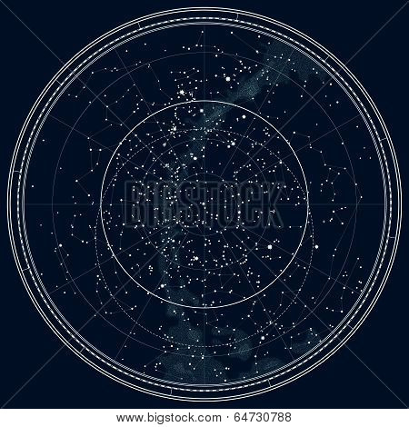 Astronomical Celestial Map of The Northern Hemisphere (Detailed Black Ink version) poster