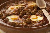 foto of tagine  -  Moroccan kefta tagine with eggs  - JPG