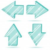 Set of 3D glass arrows  pointing four directions.