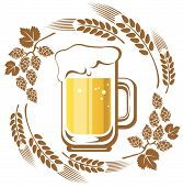 picture of drawing beer  - Beer and hop isolated on a white background - JPG