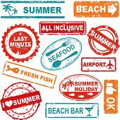 Summer and travel grunge rubber stamp collection