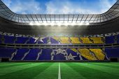 Digitally generated bosnian flag in large football stadium with white fans