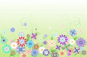 Digitally generated girly floral design on green