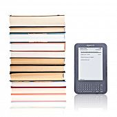 PRAGUE, CZECH REPUBLIC - FEBRUARY 5, 2011: Studio shot of 3rd generation reading device Amazon Kindl