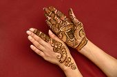 picture of mehendi  - beautifully decorated indian hands with mehandi typically done for weddings - JPG