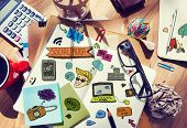 Designer's Table with Social Media Notes and Tools