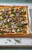 Rustic Zucchini and Onion Pizza with Mushrooms