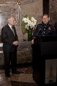 NEW YORK-APR 21, 2014: Police Commissioner William Bratton and Lt Tony Giorgio at ceremony to light
