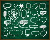 hand-drawn doodles illustration on green school board