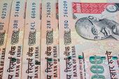 image of indian currency  - A fan of one thousand rupee notes  - JPG