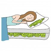 An image of a woman sleeping on a bed of cash.