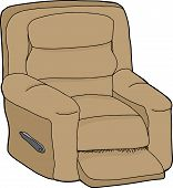 pic of recliner  - Single cartoon recliner chair on isolated white background - JPG