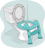 Illustration of a Toilet Bowl with a Potty Ladder